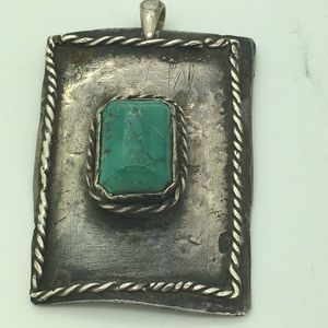Jewelry - Native Sterling Turquoise Pendant